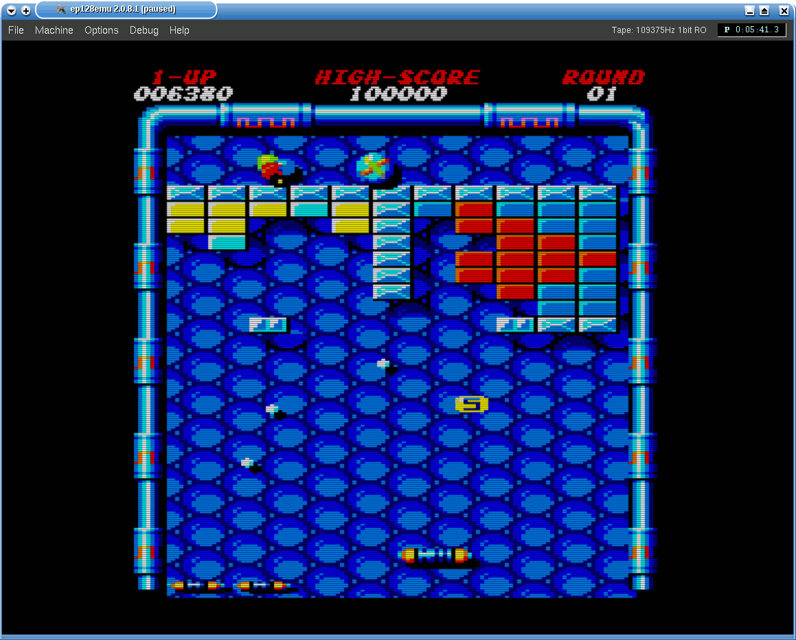 Arkanoid 2 (CPC) running in ep128emu
